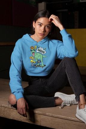 Angemiel Wear Müthiş Kaykaycı Dinozor Mavi Kısa Kapüşonlu Sweatshirt 0