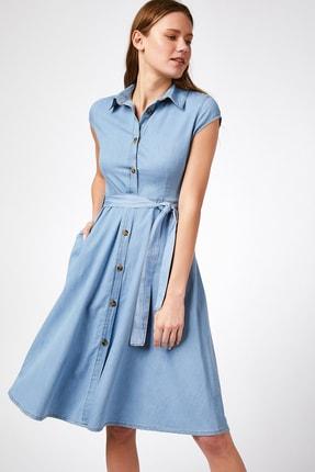 Happiness İst. Kadın Açık Mavi Kısa Kollu Kuşak Kemerli Jean Elbise  DD00605 0