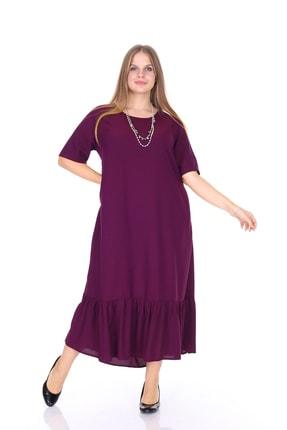 Picture of Kadın Büyük Beden Etek Fırfır Elbise Mor