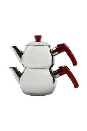 Papatyam Çelik Papatya Midi Boy Çelik Çaydanlık Takımı - Kırmızı 2
