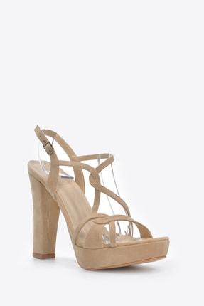 Vizon Ayakkabı Kadın  Ten-Süet Klasik Topuklu Ayakkabı VZN20-034Y 2
