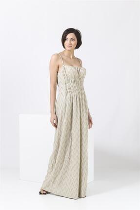Missoni Askılı , Altın Desenli , Maxi Elbise 2