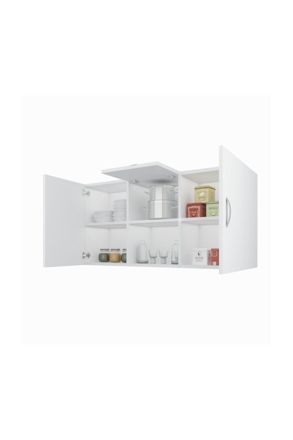 Banyo Dolabı Nadya Byz 060*120*22 Mutfak Ofis Dolabı Kitaplık Kapaklı Raflı