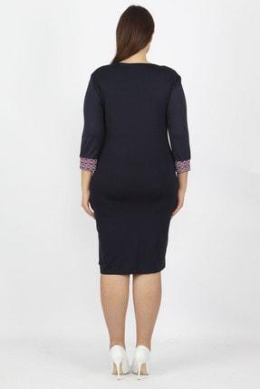 Şans Kadın Lacivert Garni Detaylı Elbise 65N15779 2