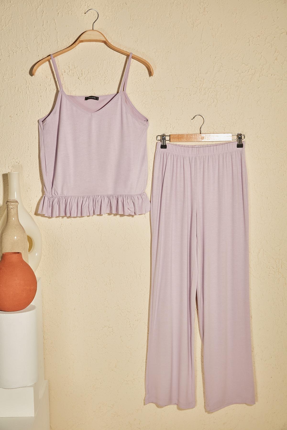 Lila Fırfır Detaylı Örme Pijama Takımı THMSS20PT0339