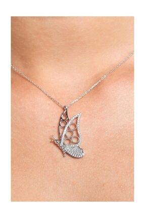 Chavin Taşlı Kelebek Gümüş Kadın Kolye cu59 1