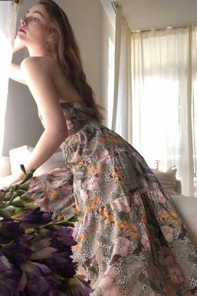 TRENDYOLMİLLA Çok Renkli Çiçek Desenli Sırt Dekolteli Elbise TWOSS20EL1907 0