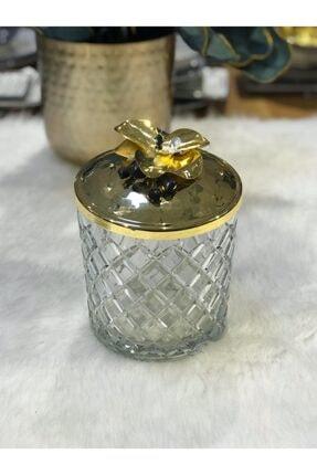 SELECT Altın Orkideli Kesme Cam Kavanoz 0