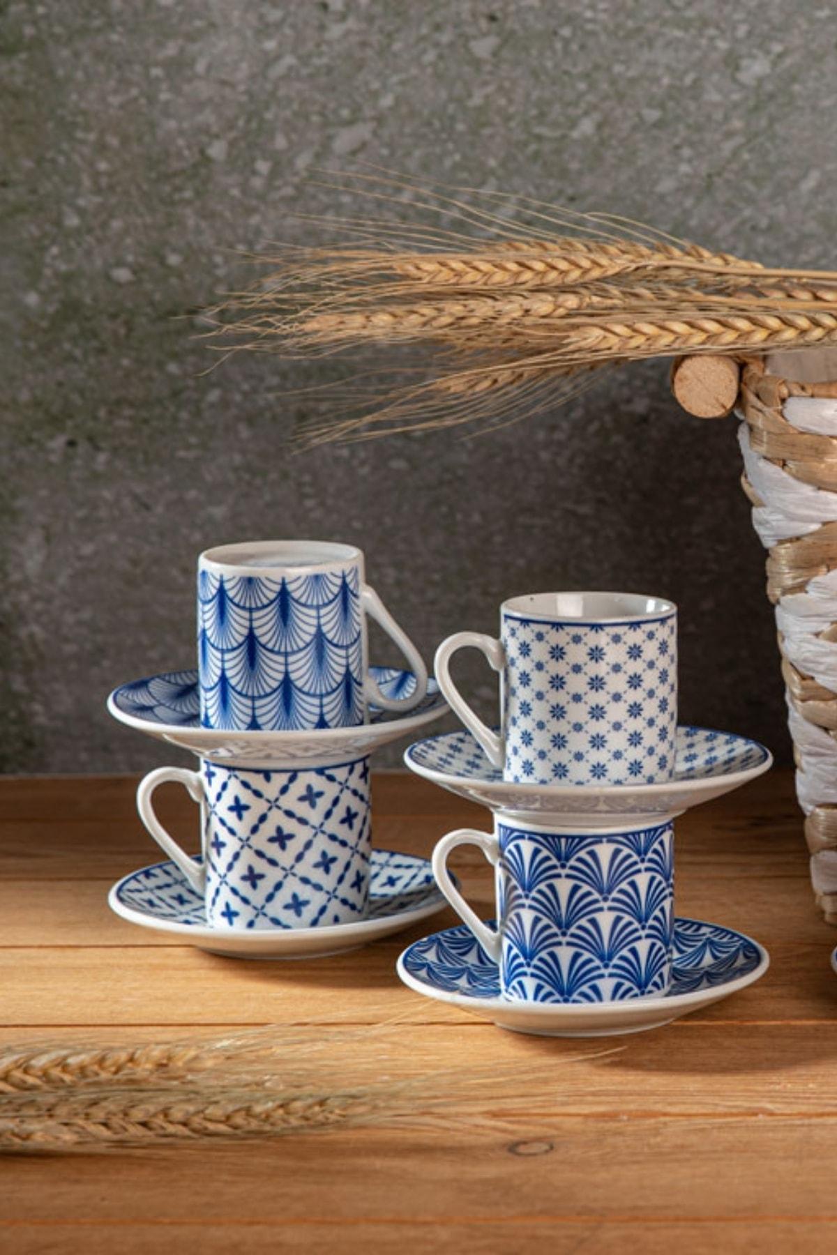 Solita Porselen 6'lı Kahve Fıncan Takımı 80 ml. Mavi