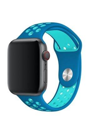 Melefoni Apple Watch 42 mm Spor Delikli Kordon Silikon Kayış Mavi 0