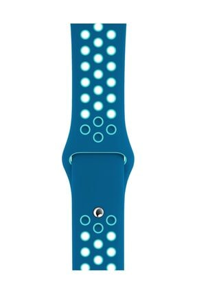 Melefoni Apple Watch 42 mm Spor Delikli Kordon Silikon Kayış Mavi 1