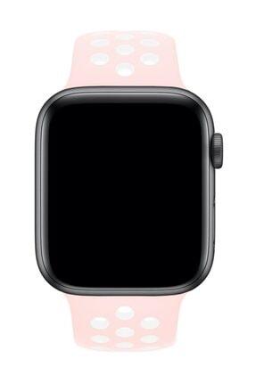 Melefoni Apple Watch 42 mm Spor Delikli Kordon Silikon Kayış Pembe 1