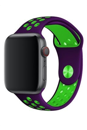 Melefoni Apple Watch 44 mm Spor Delikli Kordon Silikon Kayış Mor 1