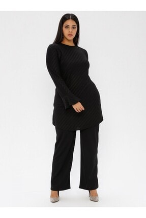 Picture of Kadın Siyah Almer Tunik Pantolon İkili Takım fw01602tb
