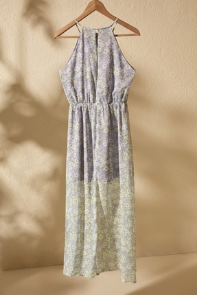 TRENDYOLMİLLA Lila Çiçek Desenli Yırtmaçlı  Elbise TWOSS20EL1297 2