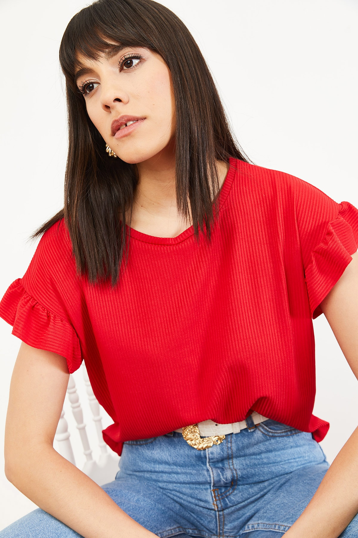 Bianco Lucci Kadın Kırmızı Kolu Fırfırlı Kaşkorse Bluz 10051015 4