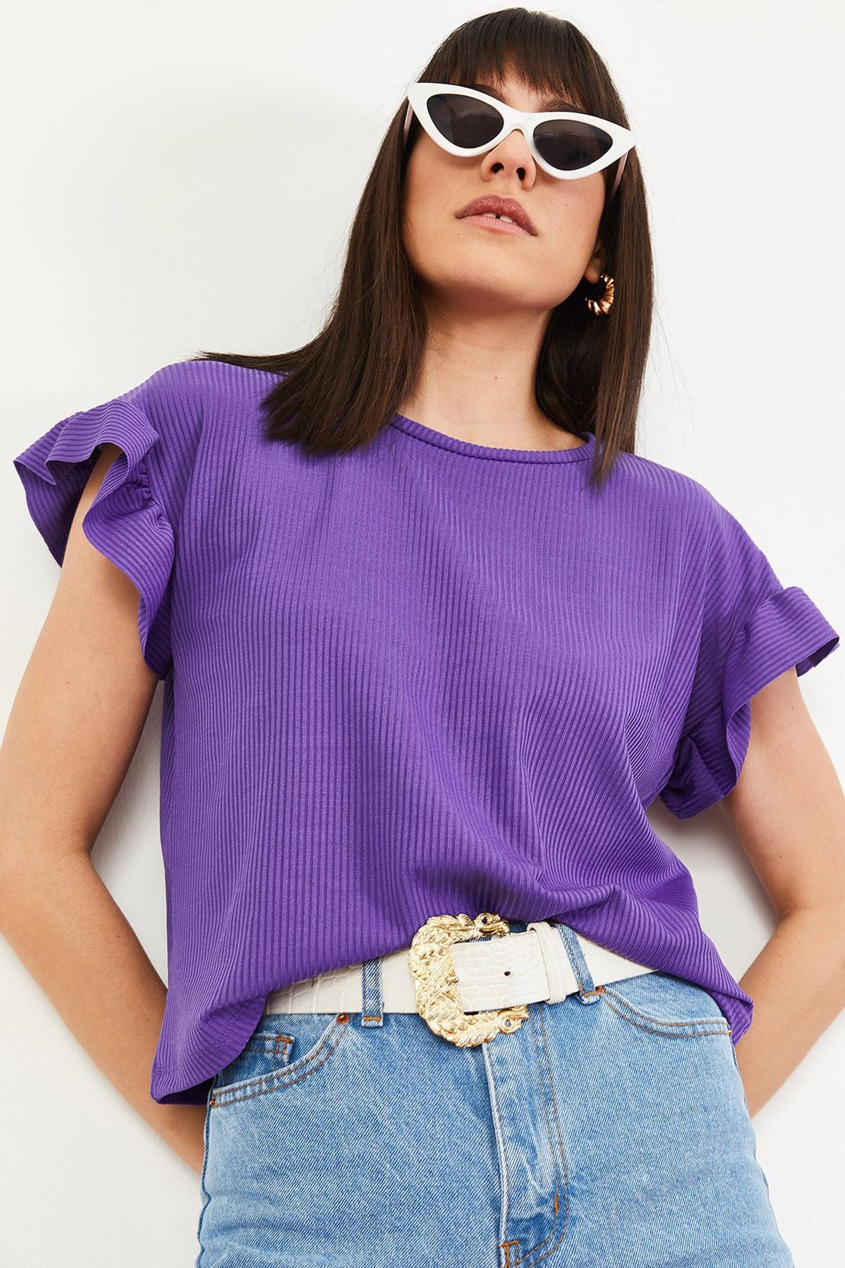 Bianco Lucci Kadın Mor Kolu Fırfırlı Kaşkorse Bluz 10051015 3