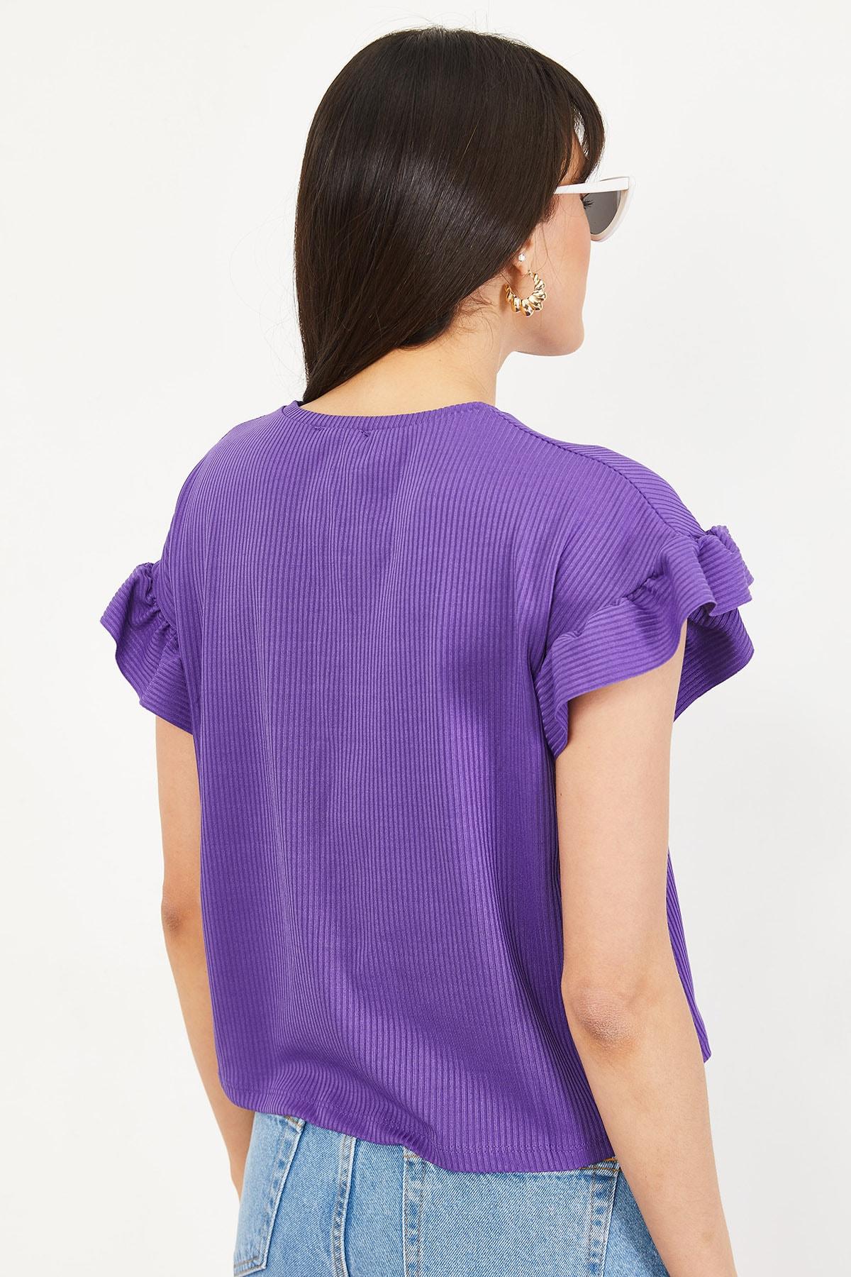 Bianco Lucci Kadın Mor Kolu Fırfırlı Kaşkorse Bluz 10051015 4