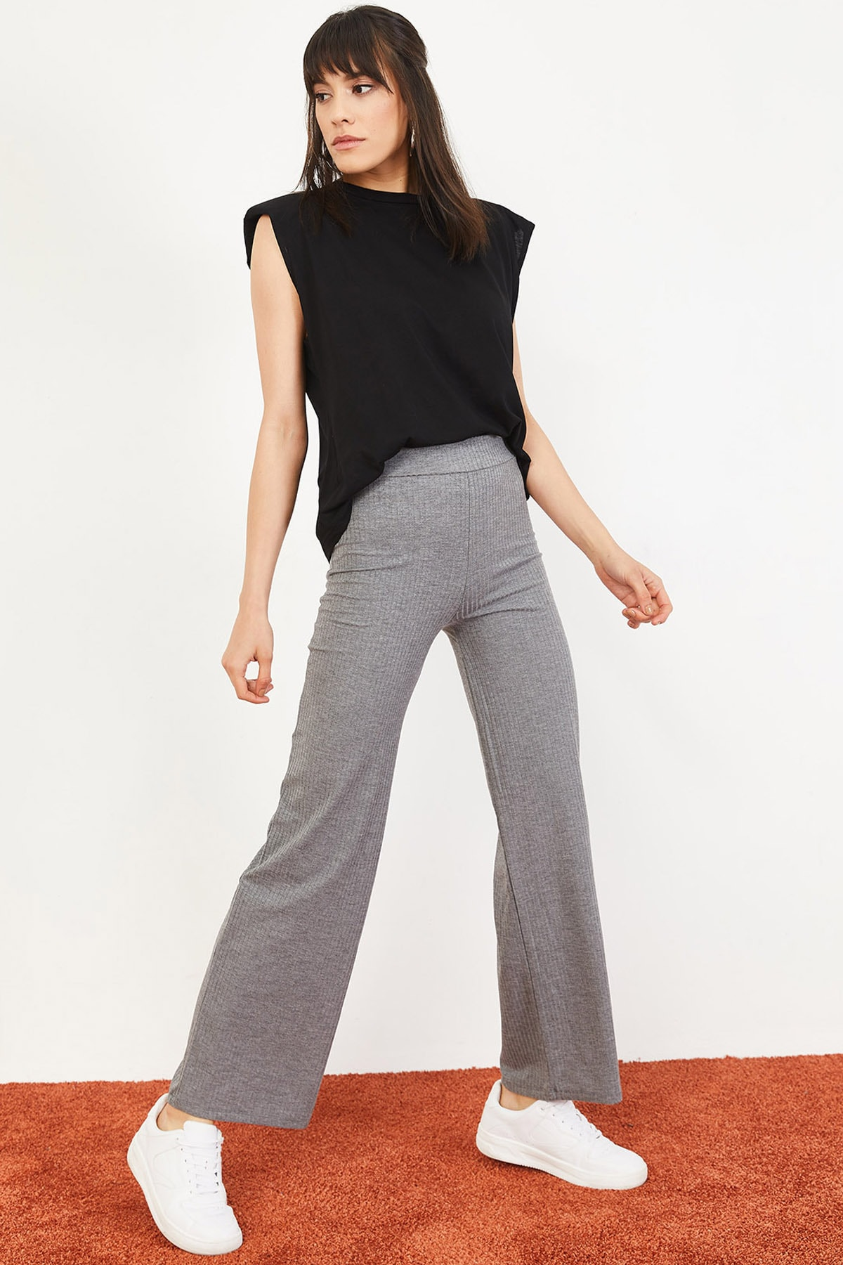 Bianco Lucci Kadın Gri İspanyol Paça Beli Lastikli Rahat Pantolon 10051020 0