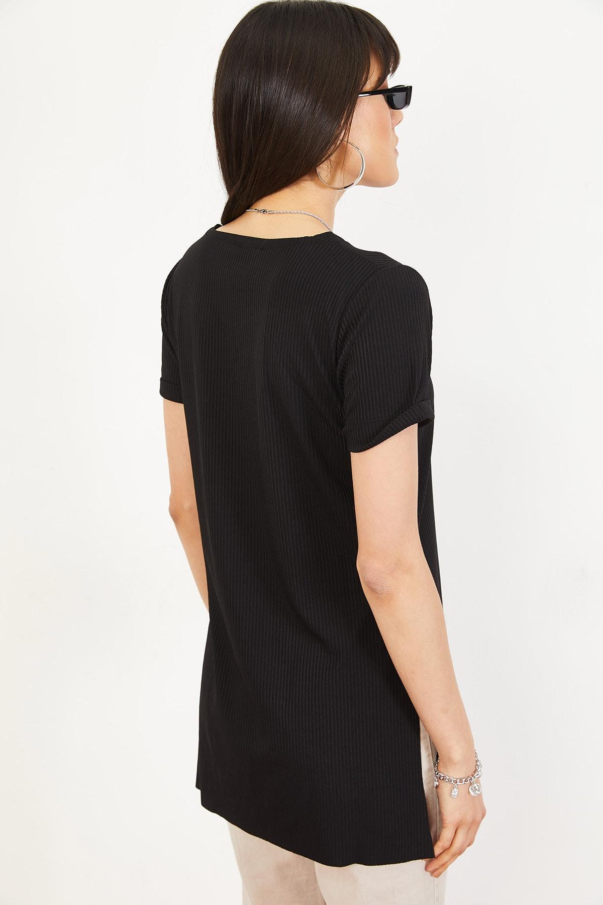 Bianco Lucci Kadın Siyah Kol Yan Yırtmaçlı Kol Detay Kaşkorse T-Shirt 10051012 4