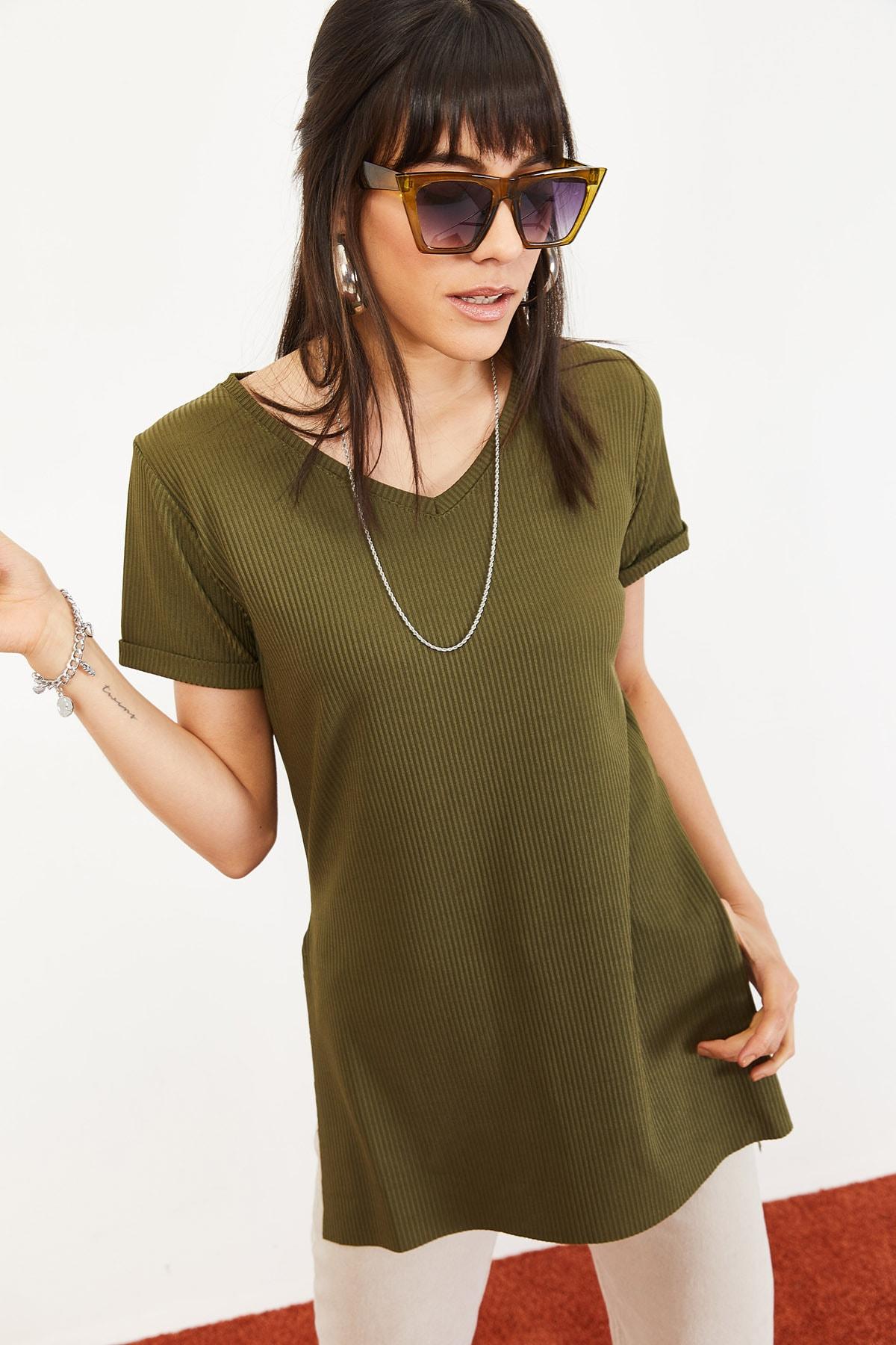 Bianco Lucci Kadın Yeşil Kol Yan Yırtmaçlı Kol Detay Kaşkorse T-Shirt 10051012 4