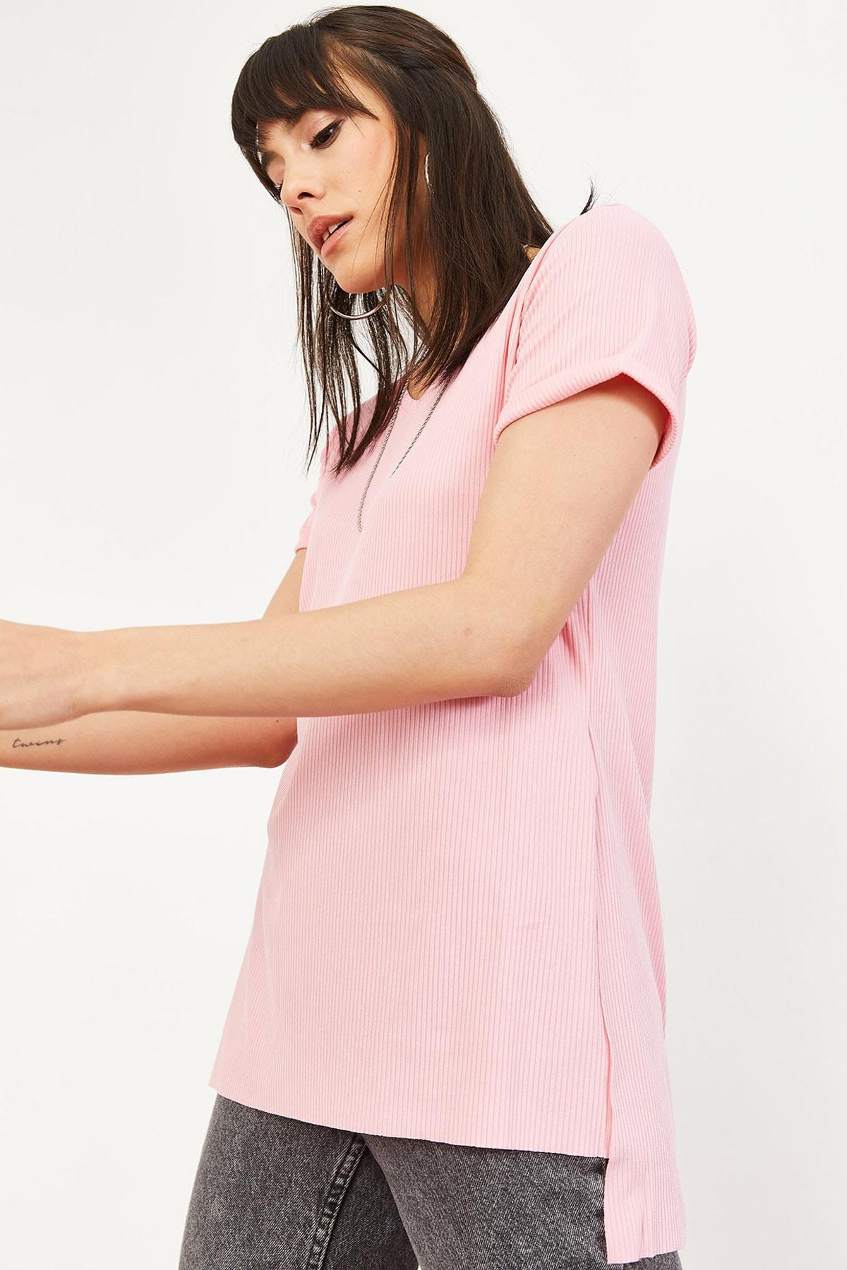 Bianco Lucci Kadın Pudra Kol Yan Yırtmaçlı Kol Detay Kaşkorse T-Shirt 10051012 3
