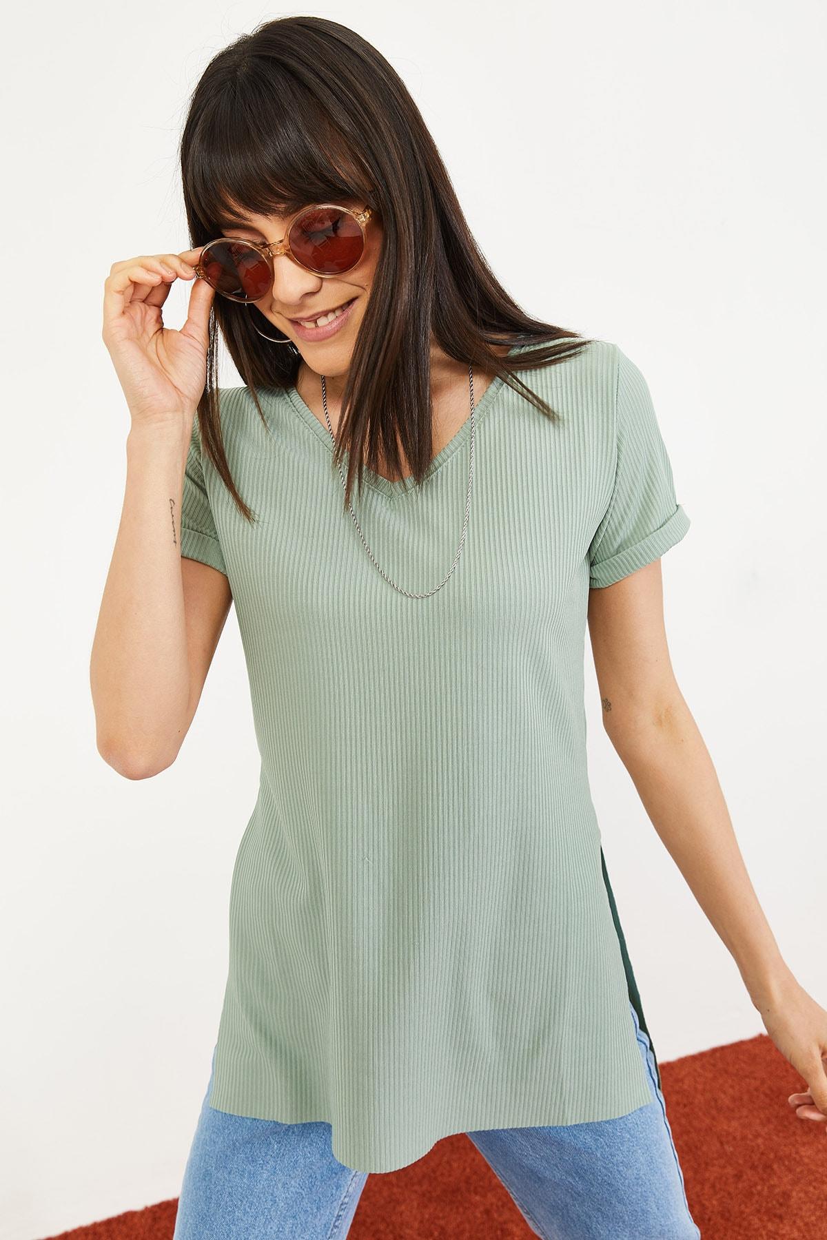 Bianco Lucci Kadın Mint Yeşili Kol Yan Yırtmaçlı Kol Detay Kaşkorse T-Shirt 10051012 4