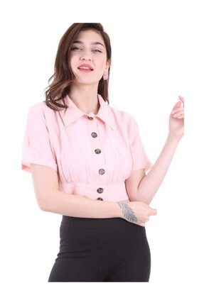 Bigdart Kadın Pudra Gömlek Yaka Düğmeli Bluz 3680bgd19_012 3