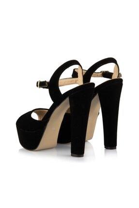 sothe shoes Siyah Süet Bayan Platform Kalın Topuklu Kadın Ayakkabı 3