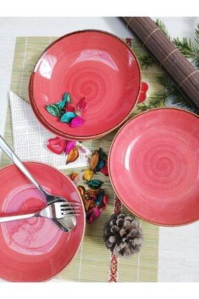 Tulü Porselen El Dekoru Trend Kırmızı Yemek Tabağı Takımı 1