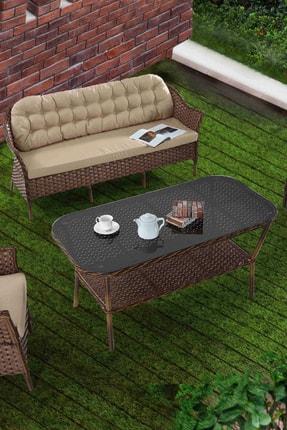 Vieno Home Garden Rona Örgü Rattan Bahçe Balkon Üçlü Koltuk Masa 4 Parça Keyif Seti 3