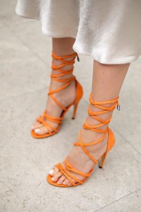 MYPOPPİSHOES Turuncu Süet Kadın Topuklu Ayakkabı 1
