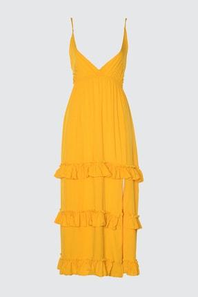 TRENDYOLMİLLA Hardal Fırfır Detaylı Örme Plaj Elbisesi TBESS20EL0851 0