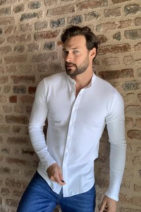 TRENDYOL MAN Beyaz Erkek Hakim Yaka Pike Örme Uzun kollu Gömlek TMNSS20GO0293 2