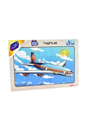 ONYIL OYUNCAK Playwood Ahşap Eğitici Puzzle Taşıtlar Uçak 0