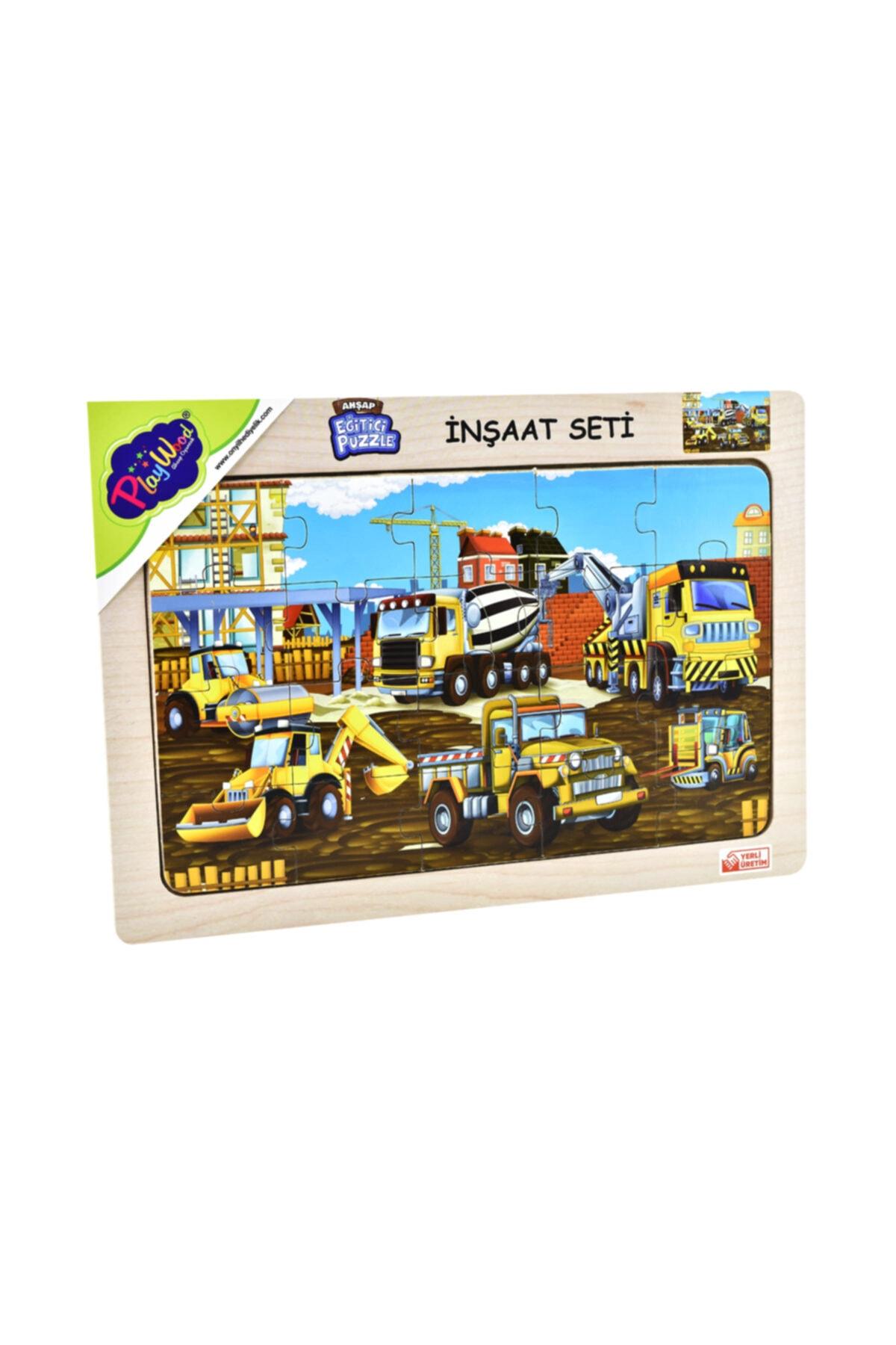Playwood Ahşap Eğitici Puzzle Inşaat Seti