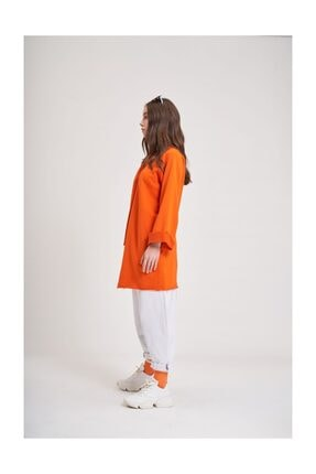 Mizalle Youth Mızalle Youth Yaka Bağcıklı Sweatshirt (turuncu) 2