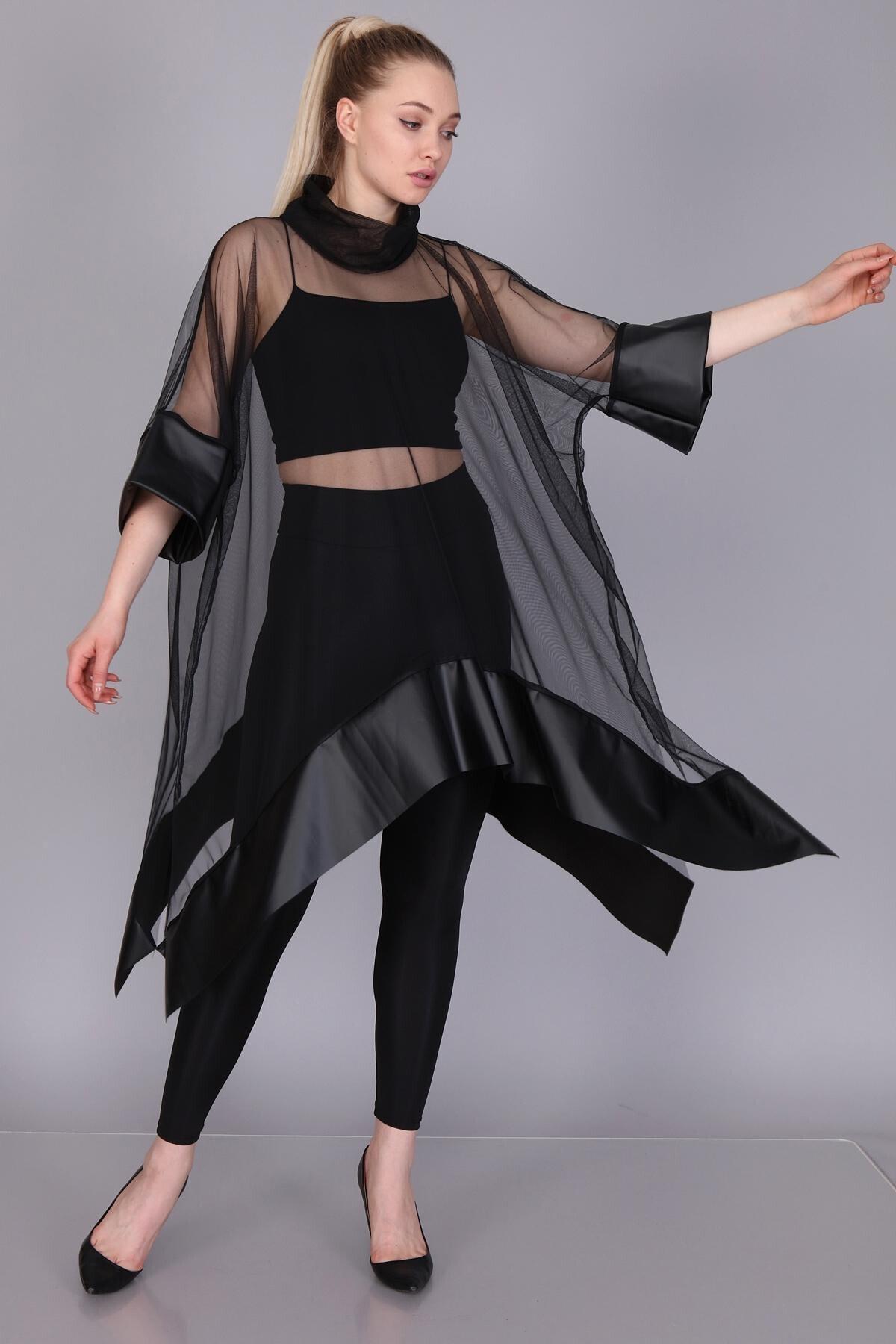 Mi&So Kadın Siyah Tül Derili Bluz M&S5101Pnç 0
