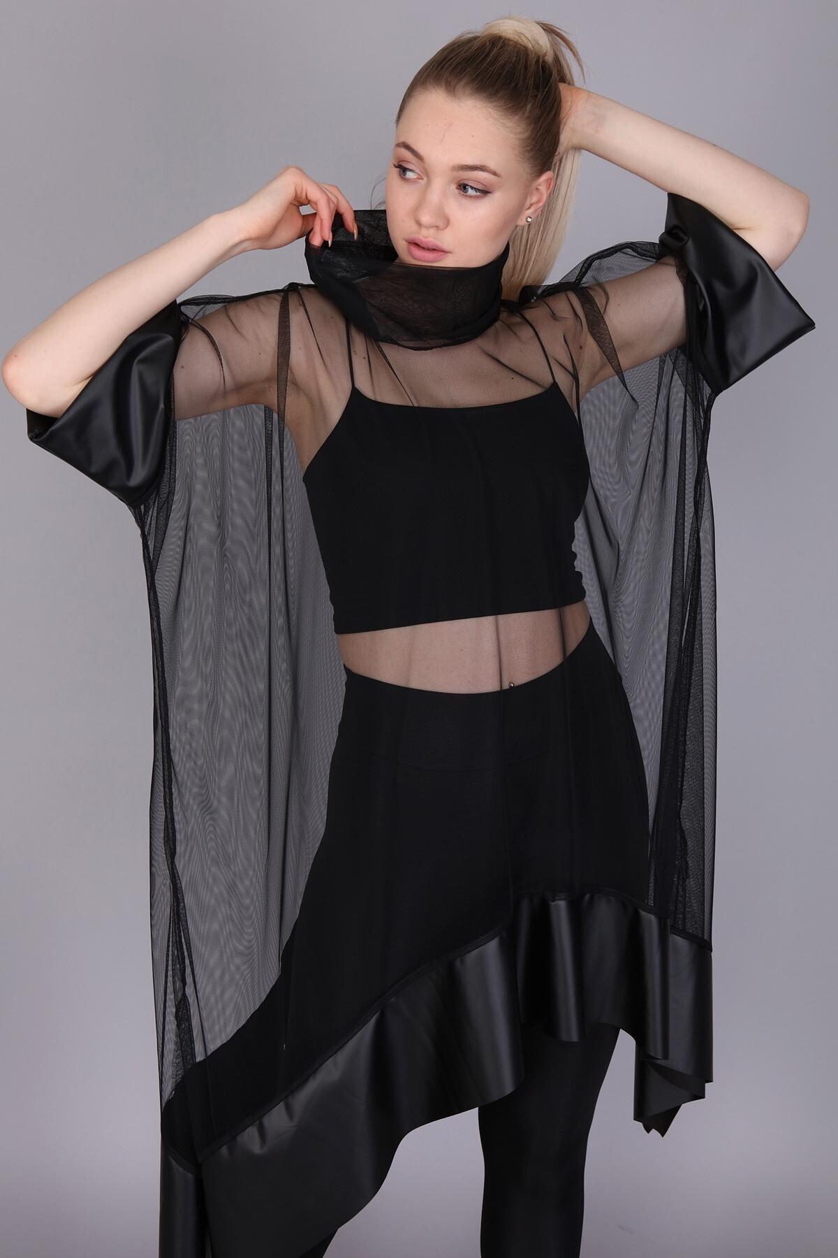 Mi&So Kadın Siyah Tül Derili Bluz M&S5101Pnç 2