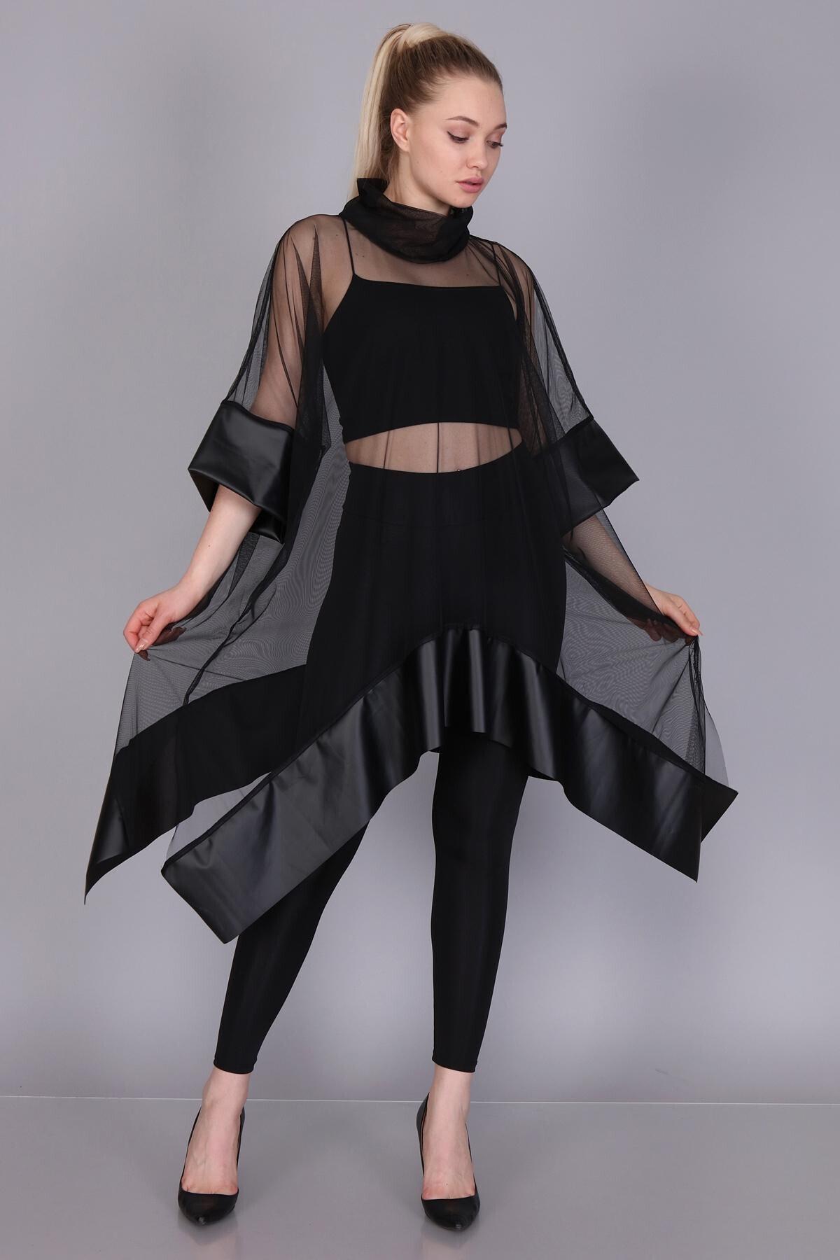 Mi&So Kadın Siyah Tül Derili Bluz M&S5101Pnç 4