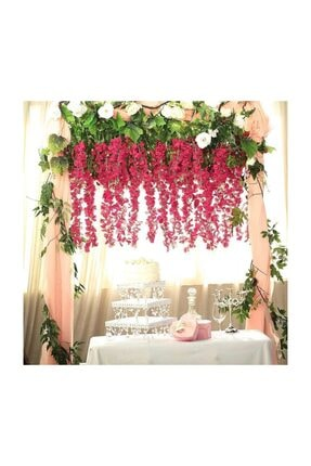 Nettenevime Sarkan Yapay Çiçek Akasya Pembe 80 Cm 3 Sarkan Dallı 12 Adet Bağ 4