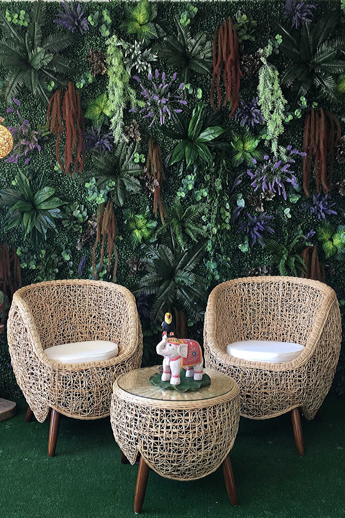 Özel Tasarım Ithal Bambu Bahçe Balkon Keyif Seti (2 Tekli + Sehpa)