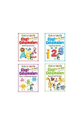 Ema Çocuk Okul Öncesi Çıkartmalı Çizgi Çalışmaları 4 Lü Set Harf Sayı Hayvan Renk Kalem Hediyeli 0