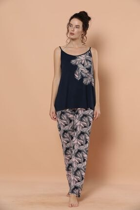 Siyah İnci Ip Askılı Viskon Pijama Takım 1