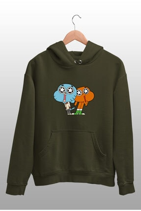 Angemiel Wear Hayran Kalmış Darwin Ve Gumball Yeşil Kadın Kapüşonlu Sweatshirt 1