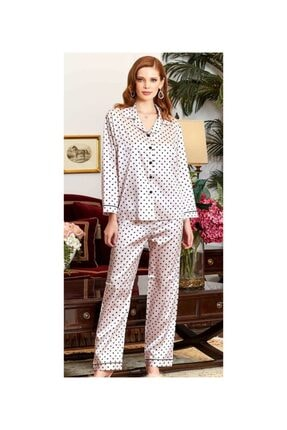 Saten Onden Dugmeli Pijama Takimi J3196