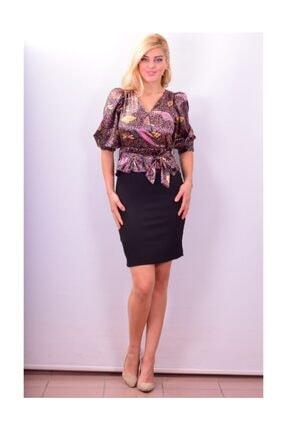 Maya 5285d Şal Desen Elbise 1