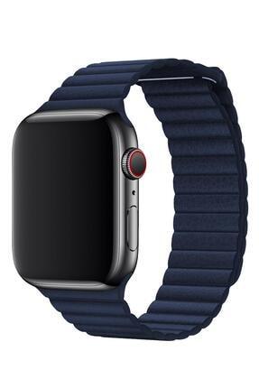 Melefoni Apple Watch Deri Loop Kordon 44 Mm Kayış Lacivert 1