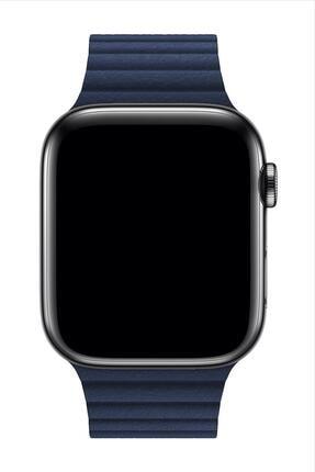 Melefoni Apple Watch Deri Loop Kordon 44 Mm Kayış Lacivert 2