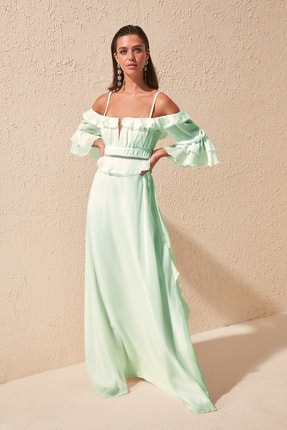 TRENDYOLMİLLA Mint Kol Detaylı Volanlı Şifon Abiye & Mezuniyet Elbisesi TPRSS19FZ0278 0